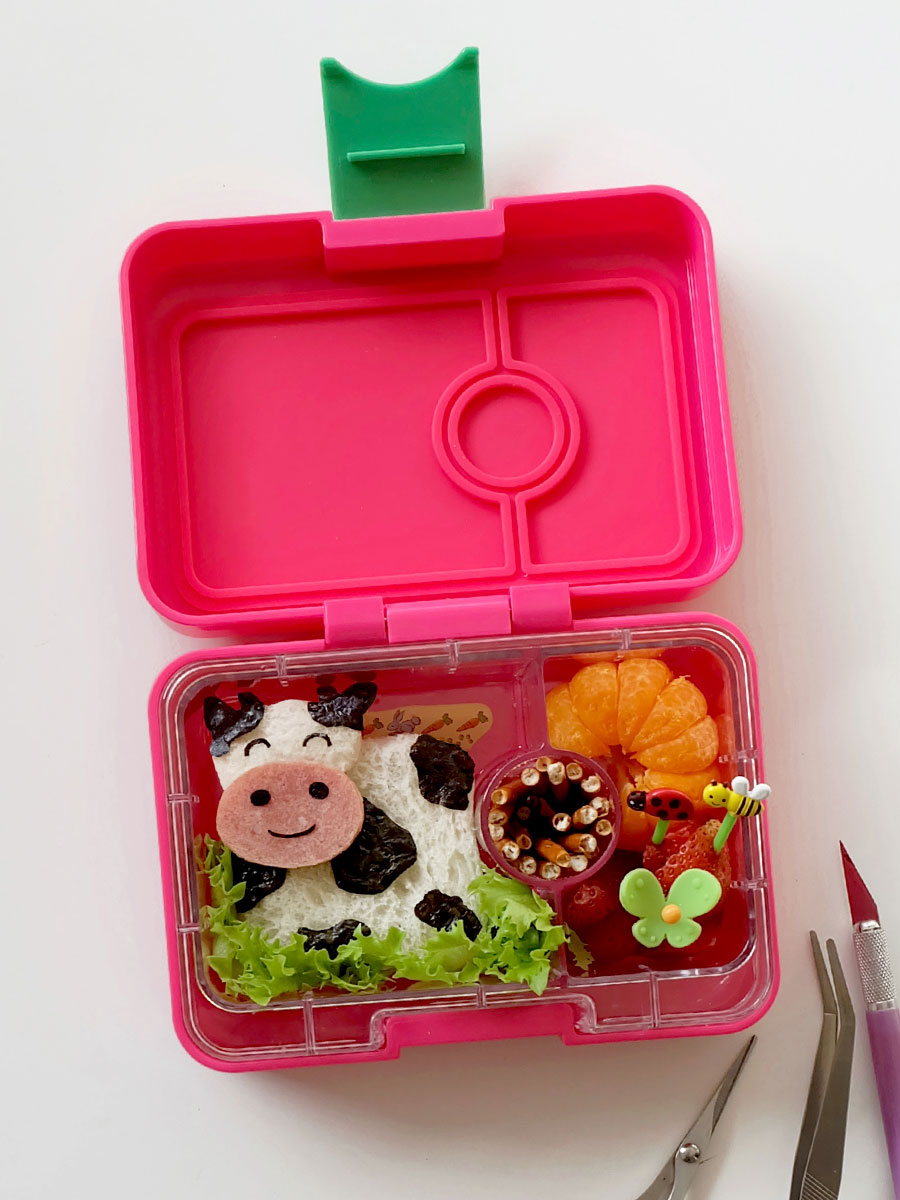 Cow Bento Food Art in the Yumbox MiniSnack