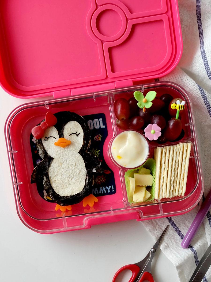 Penguin Bento Food Art Inside Yumbox Panino