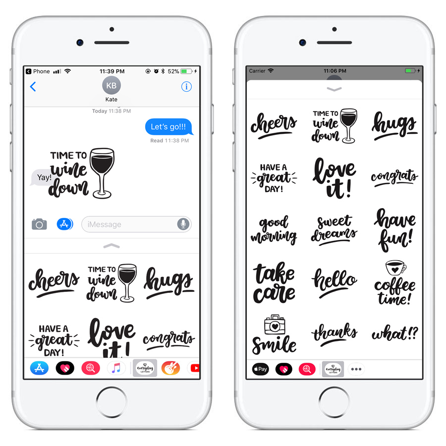 Everyday Letters iMessage Stickers: Version 1.1